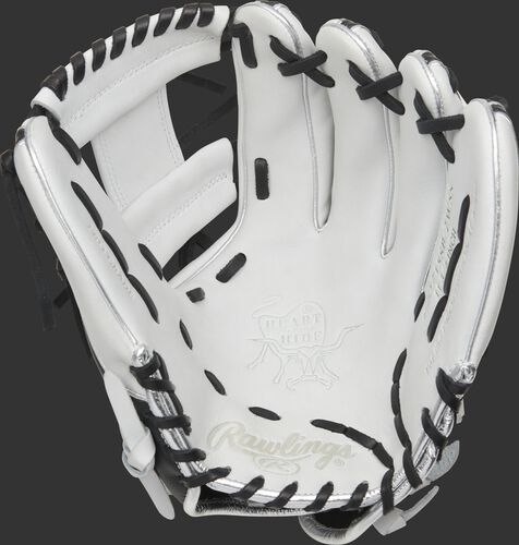 White palm of a 2021 HOH softball infield glove with a white web and black laces - SKU: PRO715SB-2WSS