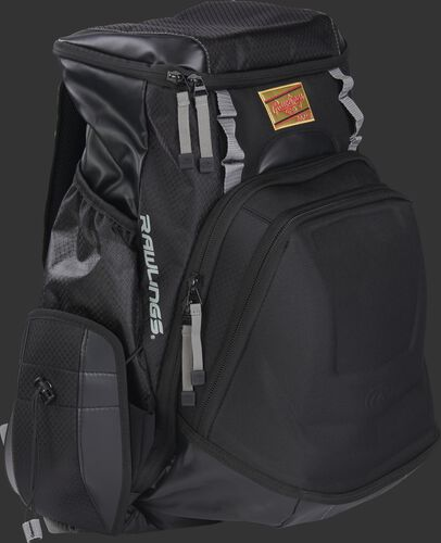 Front right of a black R1000 Rawlings Gold Glove equipment backpack