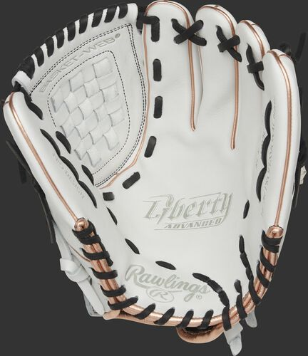 RLA120-3RG Rawlings Liberty Advanced Color Series glove with a white palm, white web and black laces