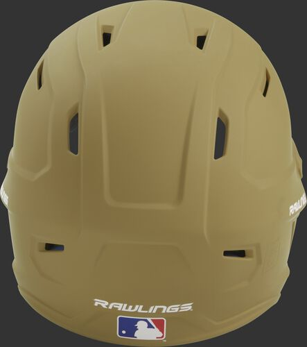 Back of a Vegas gold MACH high performance helmet with the Official Batting Helmet of MLB logo
