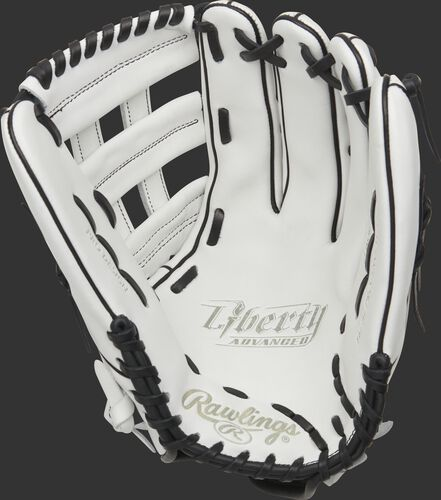 White palm of a Rawlings Liberty Advanced outfield glove with black laces - SKU: RLA130-6WB