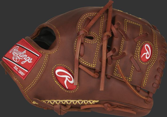 A timberglaze PRO205-9TI Heart of the Hide 11.75-Inch infield/pitcher's glove with a 2-Piece solid web and hand-sewn welting