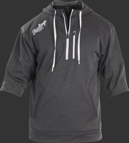 Front of Rawlings Dark Shadow Adult Half Sleeve Hoodie with Zipper - SKU #RHTYO-DSW-88
