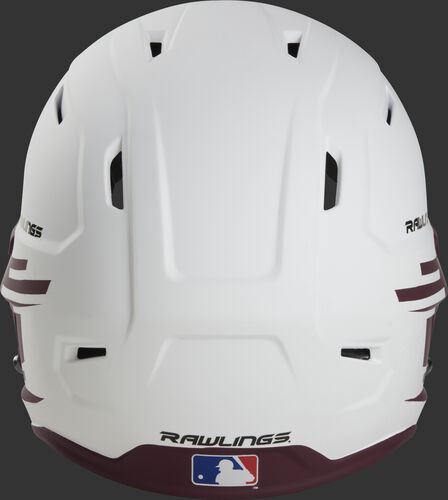 Back of a white/maroon Rawlings Mach fastpitch helmet with the MLB logo on the bottom - SKU: MSB13S-W/MA