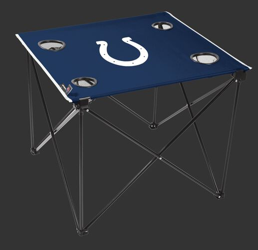 Rawlings Blue NFL Indianapolis Colts Deluxe Tailgate Table With Four Cup Holders and Team Logo Printed In The Middle SKU #00701070111
