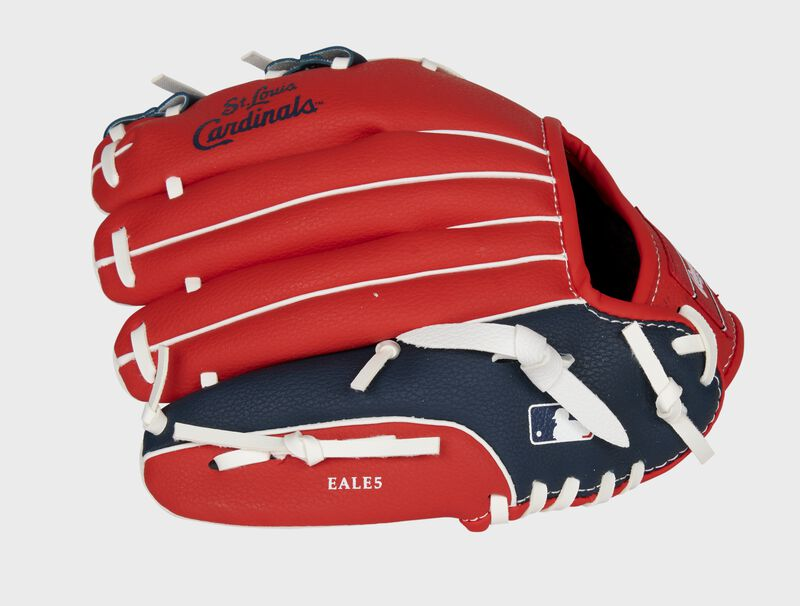Back of a red/navy St. Louis Cardinals 10-inch youth glove with the MLB logo on the pinky - SKU: 22000007111