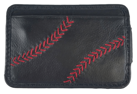 A black RL164-001 Baseball Stitch front packet wallet with red stitching on the outside credit card slot