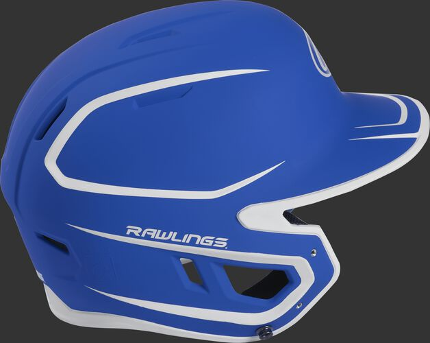 Right side of a two-tone matte royal/white MACH helmet