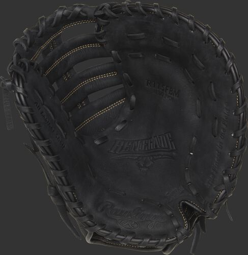 R115FBM Rawlings recreational youth first base mitt with a black palm, black laces and Sure Catch design