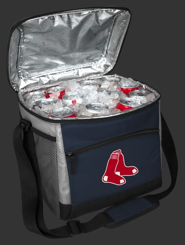 An open Boston Red Sox 24 can cooler filled with ice and drinks - SKU: 10200024111