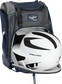 A white/black helmet in the main compartment of a navy Rawlings Franchise backpack - SKU: FRANBP-N image number null