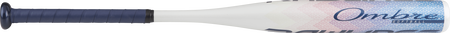 Barrel of a white FP8O11 2018 Ombre softball bat with a navy grip