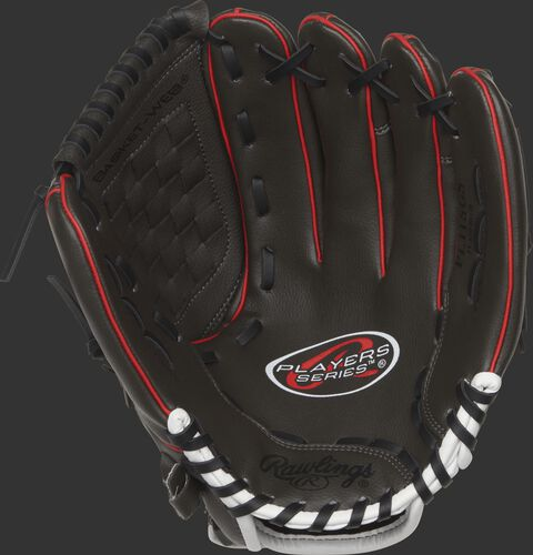 Palm of a Rawlings Players Series youth glove with black laces - SKU: MEIPL115GS