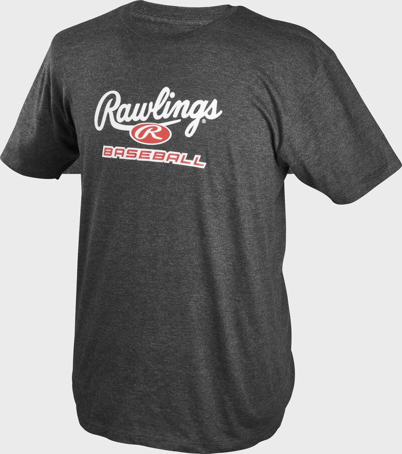 A charcoal Rawlings baseball short sleeve shirt with a heather design and Rawlings logo on the chest - SKU: CLM2