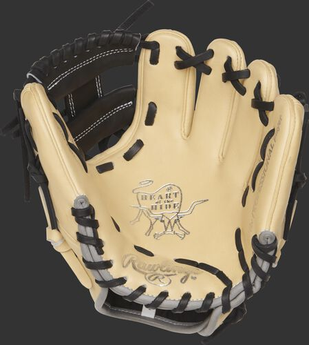 PRO200TR-2C Rawlings 9.5-inch training glove with a camel palm and black laces