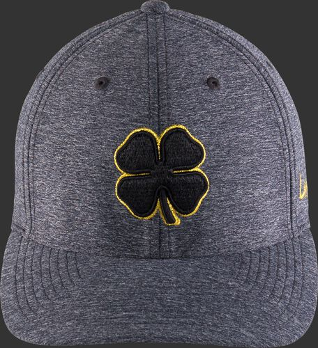 Front of a gray Black Clover Gold Glove hat with a black clover leaf - SKU: BC0GC00071