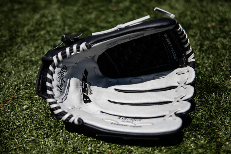 Grey palm of a Rawlings RSB glove lying on a field - SKU: RSB140GB