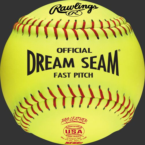 "A C12RYLAH USA NFHS Official 12"" Dream Seam softball with red stitching"