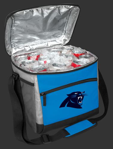 An open Carolina Panthers 24 can cooler filled with ice and drinks - SKU: 10211090111