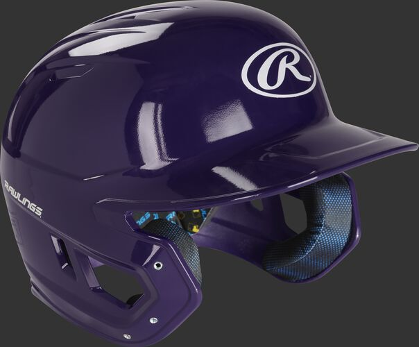 Right angle of a MCH01A high school Mach baseball helmet with a purple shell