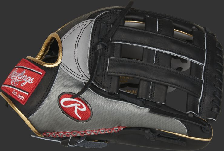 Thumb of a Bryce Harper Heart of the Hide Hyper Shell glove with a black H-web and hand-sewn welting - SKU: PROBH3