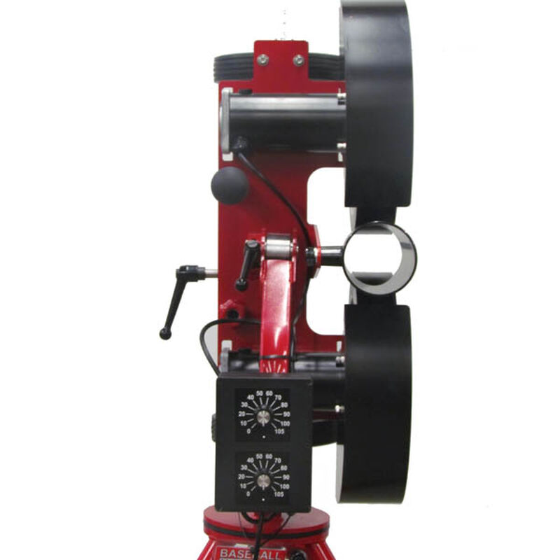 Back of Rawlings Red Spin Ball Pro 2 Wheel Combination Pitching Machine Showing Adjustable Speeds and Ball Insert SKU #RPM2C2