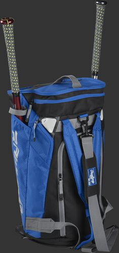 Right angle of a royal R601 Hybrid players duffel bag standing up with two bats