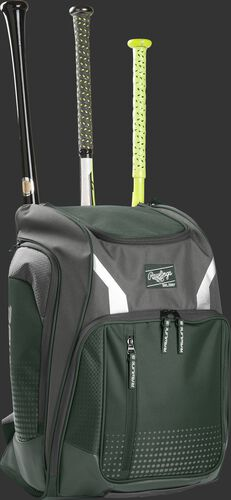 Front angle view of a Rawlings Legion bag with 3 bats in the back - SKU: LEGION-DG