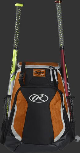 A black/orange R500 Rawlings equipment backpack with a bat on each side