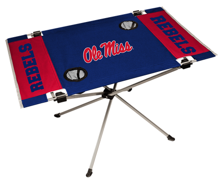 NCAA Ole Miss Rebels endzone table featuring team logos, team colors and two cup holders