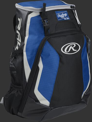 Right side of a black/royal R500 Rawlings Players equipment backpack with white trim