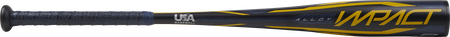 Barrel of a navy USZI9 Rawlings 2020 Impact USA Baseball bat with yellow accents