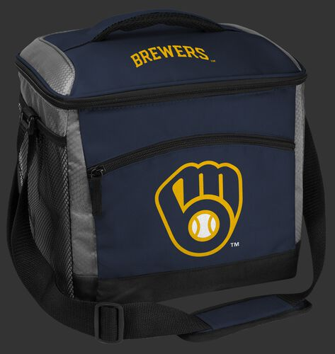 A navy Milwaukee Brewers 24 can soft sided cooler with screen printed team logos - SKU: 10200006111