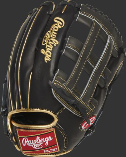 PROJD-6BGP Heart of the Hide 13-inch H-web outfield glove with a black back and gold binding/welting