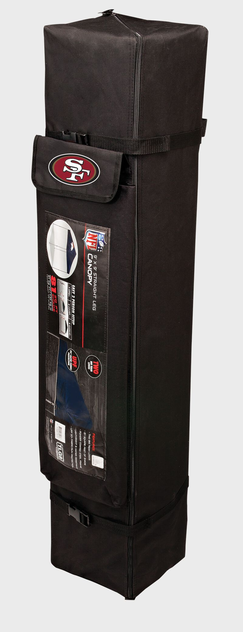 Black carry case for a San Francisco 49ers canopy