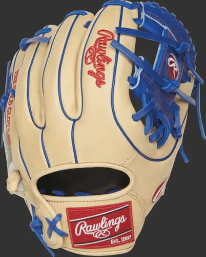 PRO312-2CR 11.25-inch Heart of the Hide I web glove with a camel back and royal blue double-welting