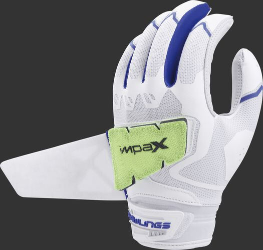 A white/royal FPWPBG-R women's Rawlings Workhorse batting glove with the Impax pad attached to the back