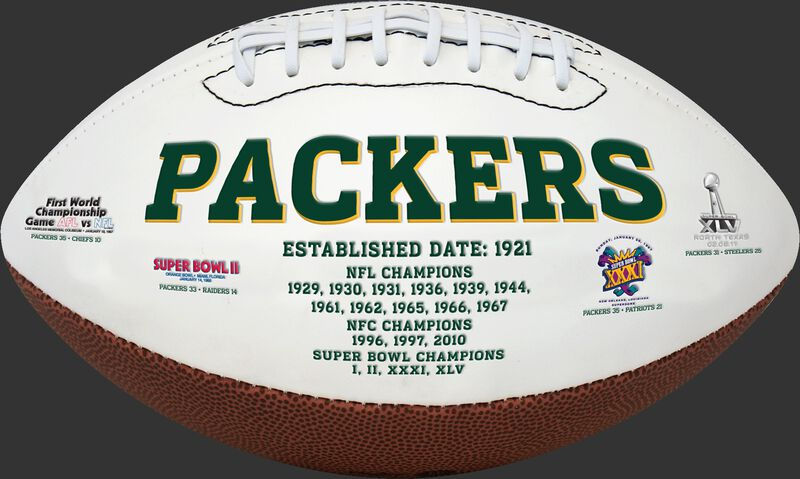 White NFL Green Bay Packers Football With Team Name SKU #06541068811