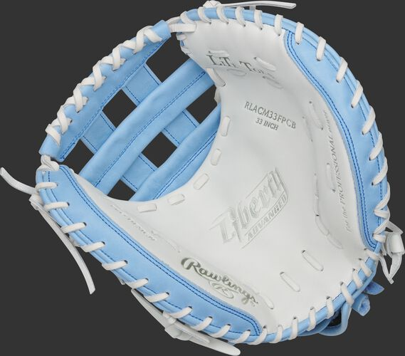 RLACM33FPCB Rawlings Liberty Advanced Color Series catcher's mitt with a white palm, columbia blue web and white laces