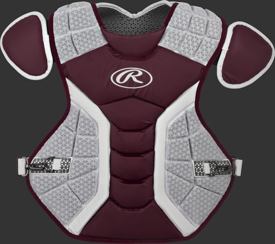 A maroon/grey CPPRO Pro Preferred adult chest protector