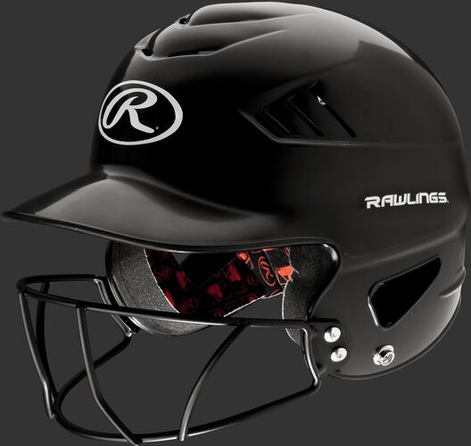 A black RCFHFG Coolflo batting helmet with a navy facemask