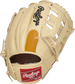 Back of a camel DJ LeMahieu Gameday 57 glove with a tan finger pad and red Rawlings patch - SKU: PROSNP4-DJ26 image number null