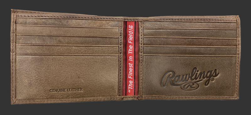Inside of a Rawlings American Story bi-fold wallet with multiple credit card slots - SKU: RPW001-200