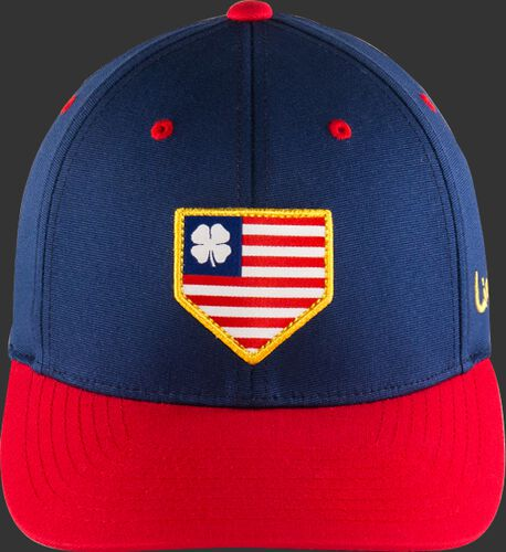 Front of a blue BCRBCU0071 USA Rawlings Black Clover hat with a red bill and American flag themed home plate logo