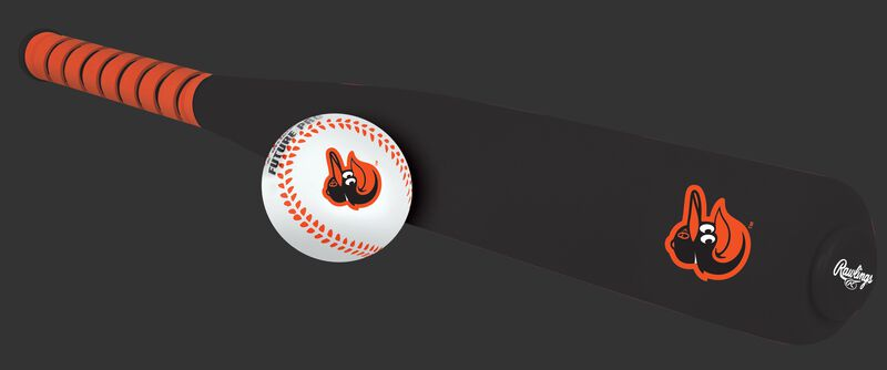 Side of Rawlings Baltimore Orioles Foam Bat and Ball Set in Team Colors With Team Name and Logo On Front SKU #01860018111