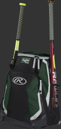Left side of a black/dark green R500 baseball backpack with a red bat in the side sleeve