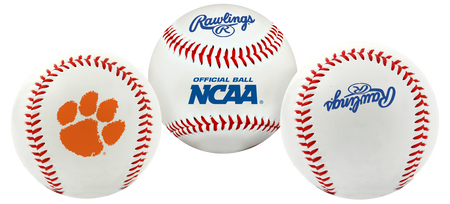 3 NCAA Clemson Tigers baseballs with a team logo, NCAA logo and Rawlings logo