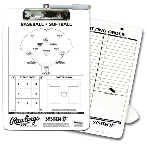Rawlings White Coaches Baseball Clipboard With Field View SKU #CLIP
