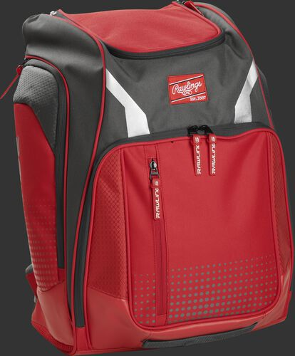 Right angle view of a scarlet Rawlings Legion backpack - SKU: LEGION-S