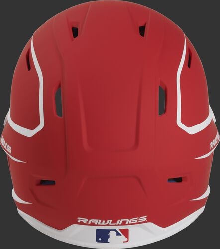 Back of a scarlet/white MACH high performance Junior helmet with the Official Batting Helmet of MLB logo